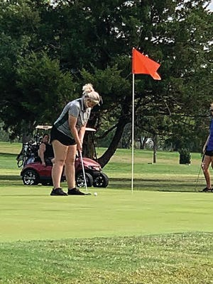 Pratt golfer Ashlynn Colavito, gets ready to putt.