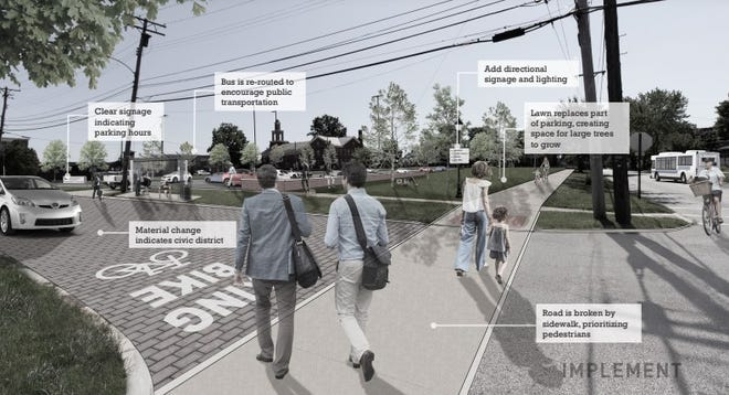 A page from the Ravenna Downtown District Plan, as seen in a presentation from Implement Studios, shows how a parking lot for the Ravenna courthouse could be more inviting.