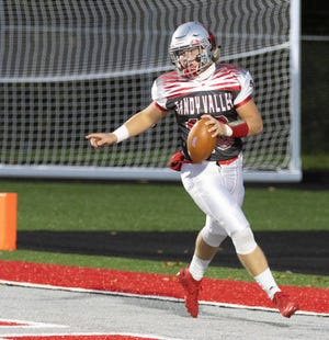 Sandy Valley's quarterback Cameron Blair in the end zone after rushing for a touchdown during the first quarter against Tusky Valley on Friday, Oct. 2, 2020. (Special to The Canton Repository / Bob Rossiter)