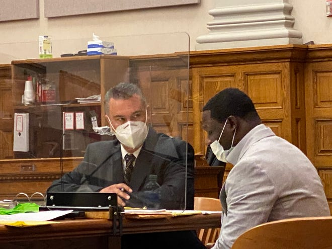 A Stark County jury on Friday acquitted Ryan A. Maske (right) following his trial in Common Pleas Court on murder and other charges related to a 2019 robbery. Defense attorney John Alexander (left) argued that Maske wasn't involved in the robbery. (Ed Balint / CantonRep.com)
