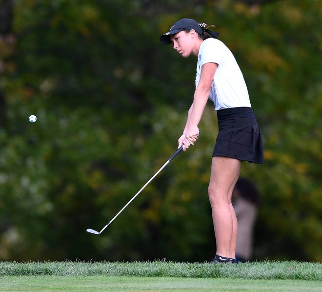 Grace May of Hoover hits onto the number one green at  the girls Golf Sectional Tournament at The Elms Country Club Wednesday, October 7th 2020.
