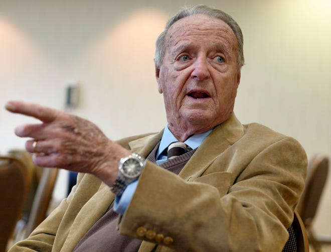 Retired Florida State coach Bobby Bowden speaks during an interview with the Associated Press in Omaha, Neb., Wednesday, Jan. 10, 2018. (AP Photo/Nati Harnik)