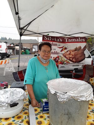 Silvia Flores with handmade tamales at the Dunsmuir Farmers Market.