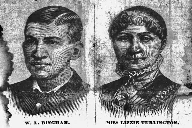 Sketches published in the Weekly State Chronicle on Jan. 13, 1887 show the faces of Lizzie Turlington, a deaf mute Wilmington woman, and Walter Bingham, the man who killed her in Raleigh on Dec. 17, 1886.