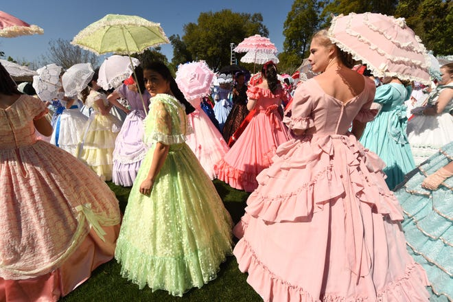 The 2017 class of Azalea Belles attend the Belle Tea party held at the NHC Arboretum on Oleander Drive in Wilmington, N.C. Sunday April 2, 2017.