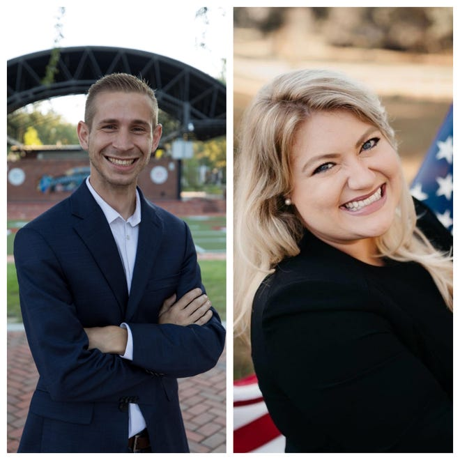 From left, Adam Christensen and Kat Cammack are running for Florida's third Congressional seat.