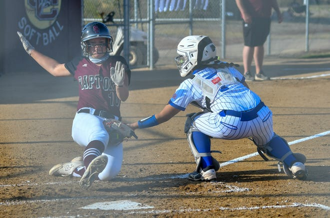 Pueblo Central catcher Jade Mares, right, tags out a Silver Creek runner at home to end the fourth inning Tuesday, Oct. 6, 2020 at Silver Creek High School in the first round of the Class 4A state playoffs.