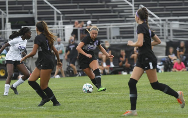 Jackie Norris, center, has combined with fellow senior forwards Morgan Dragich and Tori Haggit to lead the North girls soccer team. The Panthers were 9-3-2 overall and 3-1 in the OCC-Ohio before playing Gahanna on Oct. 13.