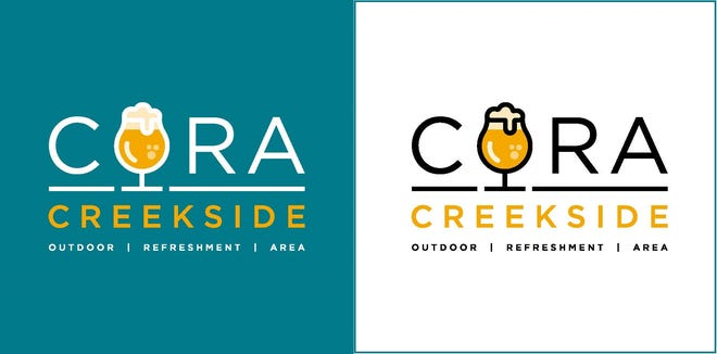 These logos of the Creekside Outdoor Refreshment Area will appear on trash cans, cups, wristbands and other signs that are required as part of approved legislation.