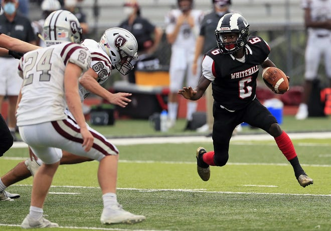 """Melvin Scott and the Whitehall-Yearling football team finished 1-6 with a 47-7 loss at Olentangy Berlin in a Division II, Region 7 first-round playoff game Oct. 9. Coach Rod Lightfoot said the Rams """"have to get in the weight room and start over."""""""