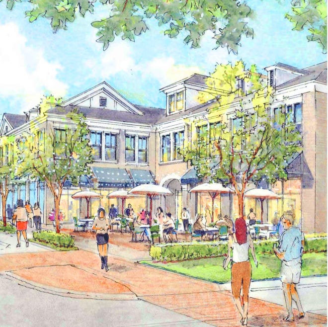 This rendering shows the design for proposed buildings that would be part of a development called Uptown West. It's currently 58 acres of farmland southwest of Otterbein University's campus, east of Cleveland Avenue at the intersection with Cooper Road.