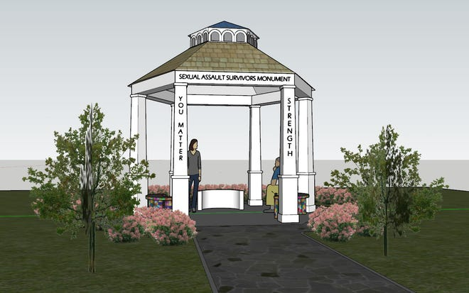 A conceptual drawing depicts the proposed sexual assault survivors monument planned for Ellen Kort Peace Park in Appleton. The design could change as it's refined.