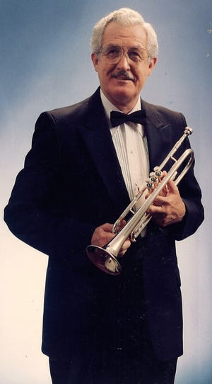 Abilene big band leader B.A. Waltrip and his horn.