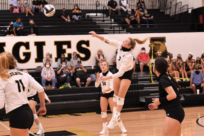 Abilene High's Gentri Anderson (7) earned a spot on the All-District 2-6A volleyball team for the 2020 season.