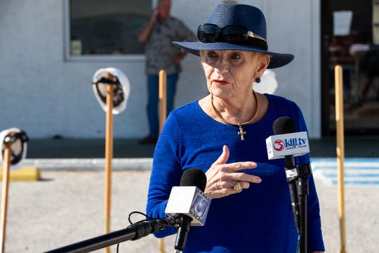 Timon's Ministries Executive Director Kae Berry speaks following the groundbreaking for their building addition and renovation on Wednesday, Oct. 7, 2020.