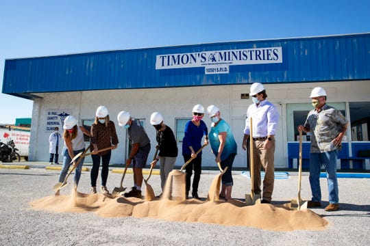 Timon's Ministries holds a groundbreaking for their building addition and renovation on Wednesday, Oct. 7, 2020.
