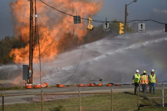 Multiple units responded to a fire Oct. 7 at the roundabout construction site off Montgomery Road.