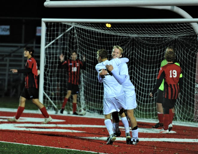 River View's Bryson Fry (back) celebrates his goal with teammate Jordan Bryant during Tuesday's 4-1 win over rival Coshocton at Stewart Field.