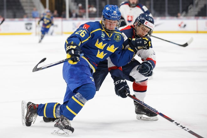 Sweden's Lucas Raymond (26) was the Red Wings' first-round draft pick Tuesday.