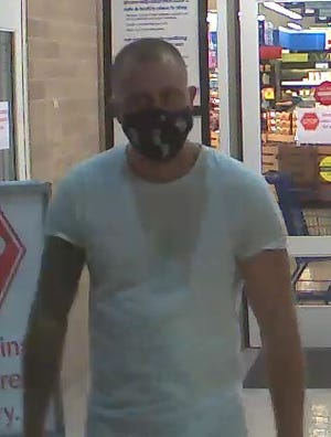 Van Buren Township police are asking for tips on this man who is wanted for allegedly defecating in a cardboard box and leaving the mess on a Meijer store shelf last week.