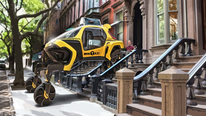 "A artist conception of the""walking car"" concept as taxi for the disabled."
