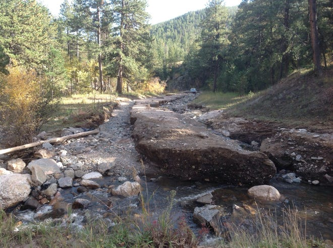 Larimer County Road 44H was heavily damaged during flooding in 2013. The road was rebuilt by Larimer County. Funds for permanent repairs to road have been released by FEMA.