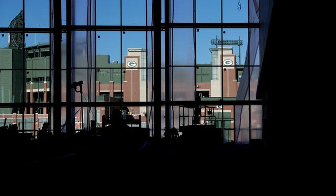 The view of Lambeau Field from the Resch Expo's atrium windows on Oct. 7, 2020.
