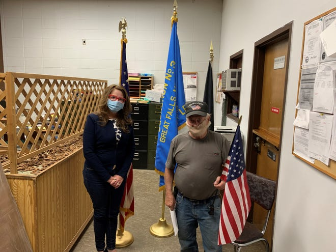 Montana Superintendent of Public Instruction Elsie Arntzen (left) stands with Barney Cooper, the post commander for the Great Falls American Legion after meeting about her Stars and Stripe initiative.