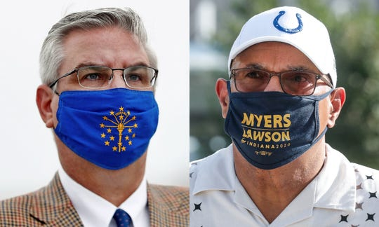 From left, Indiana gubernatorial candidates Governor Eric Holcomb (R) and Woody Myers (D)