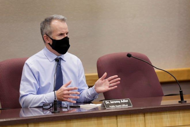 Dr. Jeremy Adler, Tippecanoe County's health officer, answers a question during a press conference at the Tippecanoe County Office Building, Wednesday, Oct. 7, 2020 in Lafayette.