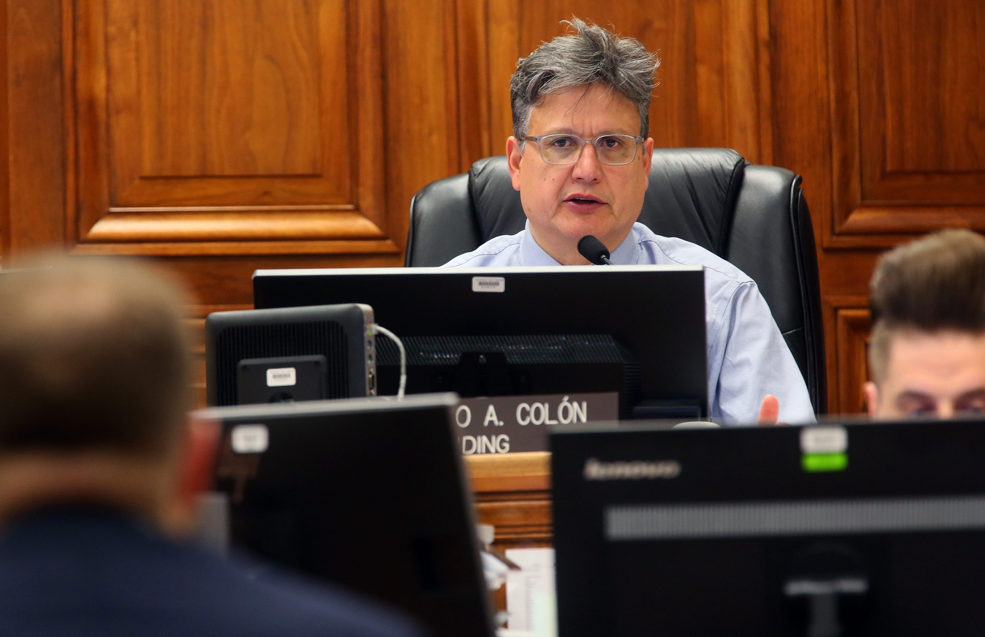 Milwaukee County Circuit Judge Pedro Colón oversees cases at an eviction court hearing  on Jan. 30, 2020.