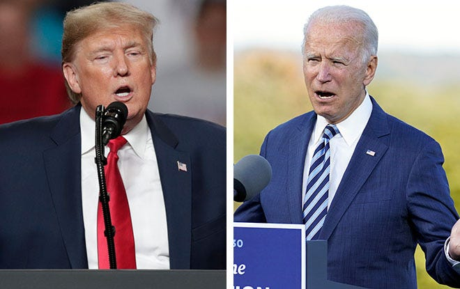 President Donald Trump, left, and former Vice President Joe Biden, right