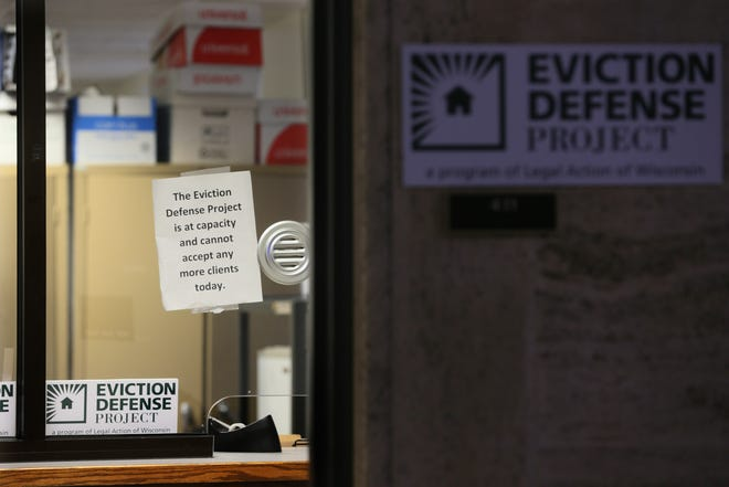 The office of the Eviction Defense Project at the Milwaukee County Courthouse in 2020.