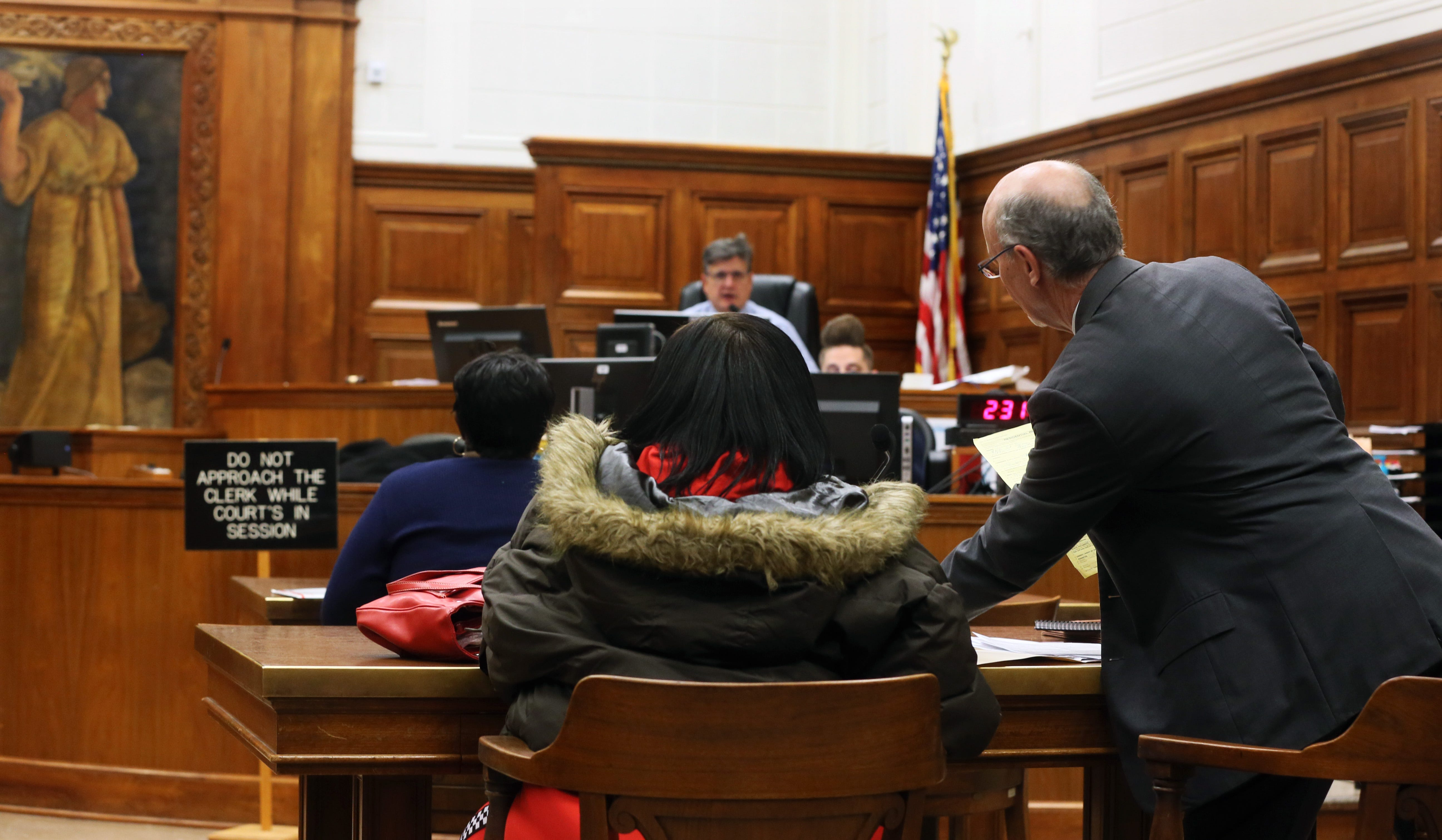 A tenant in eviction court before Circuit Judge Pedro Colon at the Milwaukee County Courthouse.
