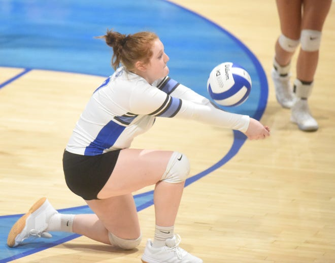 Cotter's Kristin Wilcoxson passes during a recent home match. The Lady Warriors earned a four-set victory at Flippin on Tuesday night.