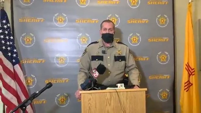 Doña Ana County Sheriff's Capt. John Day speaks to the media Wednesday, Oct. 7, 2020, about a fatal shooting that happened Sunday, Oct. 4, 2020.