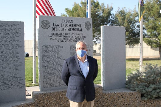 U.S. Department of Interior Secretary David Bernhardt stands in front of the Indian Law Enforcement Officer's Memorial at the Federal Law Enforcement Training Center in Artesia on Oct. 6, 2020.