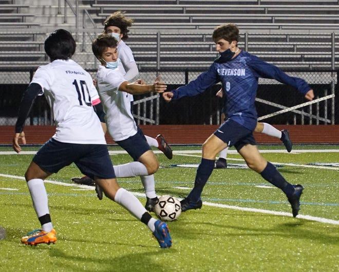Stevenson's Adriano Troiani scored two goals in the district final loss to Berkley. File photo from Stevenson's regular-season win against Franklin.