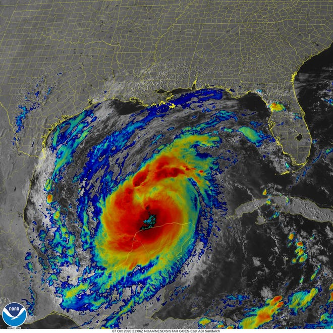 View Hurricane Delta as of 5 p.m. ET on Wednesday, Oct. 7, 2020.