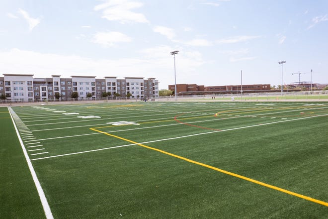 A $15.4-million fields improvement project at Arizona State includes this artificial turf field, new grass practice fields for soccer and lacrosse, a new field at Sun Devil Soccer Stadium and a large intramural field area.