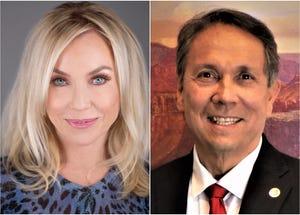 Candidates for Scottsdale mayor Lisa Borowsky and David Ortega.