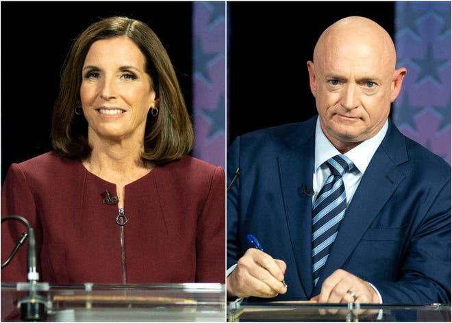 Sen. Martha McSally and Mark Kelly during their debate on Oct. 6, 2020.