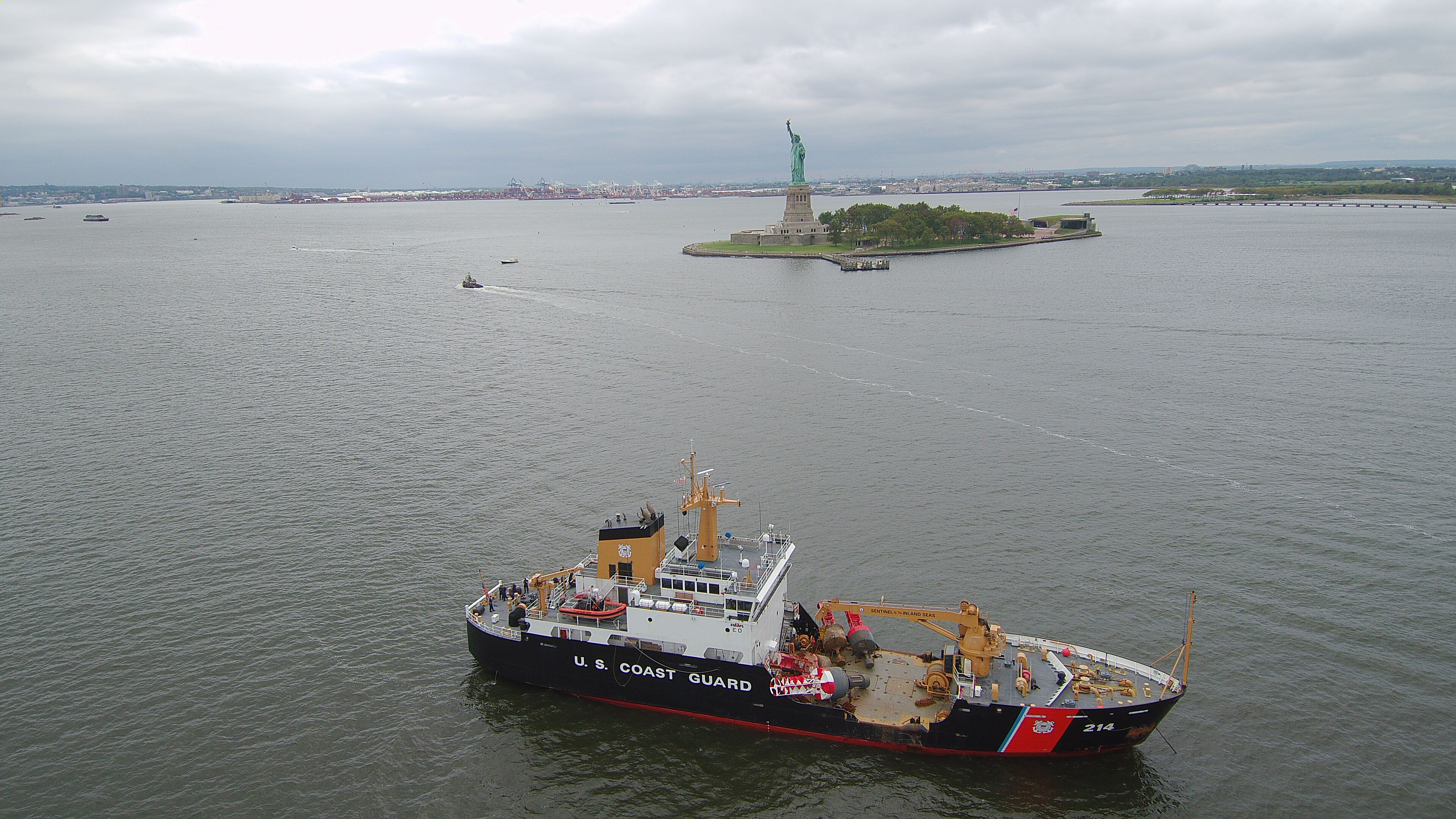 Anchored off the Statue of Liberty in New York, New York, the USCGC Hollyhock assists with the Sept. 11 memorial event on Friday, Sept. 11, 2020.