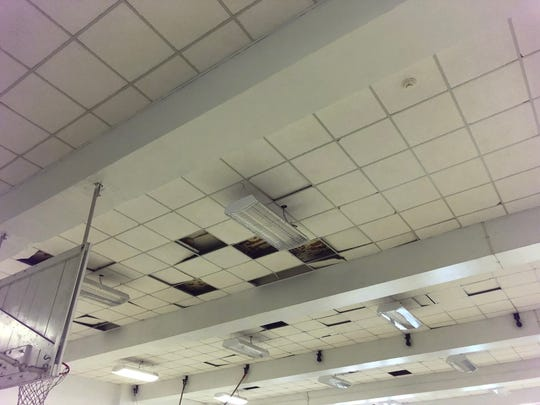 Ceiling tiles at Clinton Elementary School are pictured.