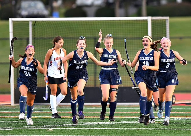 Dallastown celebrates a 2-1 win over Central York during field hockey action at Central York High School in Springettsbury Township, Wednesday, Oct. 7, 2020. Dawn J. Sagert photo