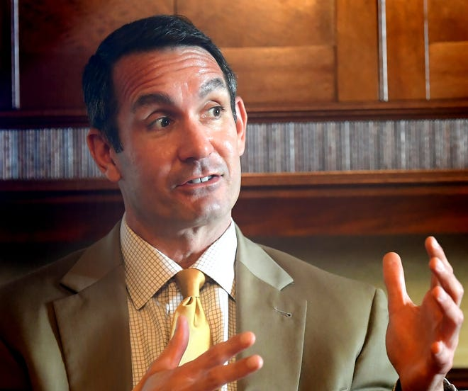 Pennsylvania Auditor General Eugene DePasquale speaks to media, Wednesday, Oct. 7, 2020, after he appeared at a Rotary Club of York program featuring the candidates for the 10th Congressional District at the Country Club of York. Congressman Scott Perry, his opponent, appeared in the program last month. Bill Kalina photo
