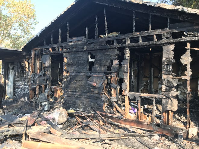 A fire on Wednesday, Oct. 7, 2020, destroyed this house on Fort Peck Street in Shasta Lake.