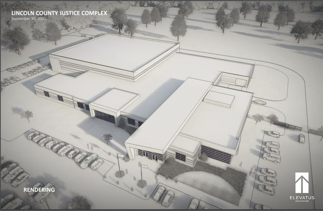 Rendering of the proposed Lincoln County Public Safety Center from a presentation prepared by Elevatus Architecture shown at the commission meeting on Oct. 6, 2020.