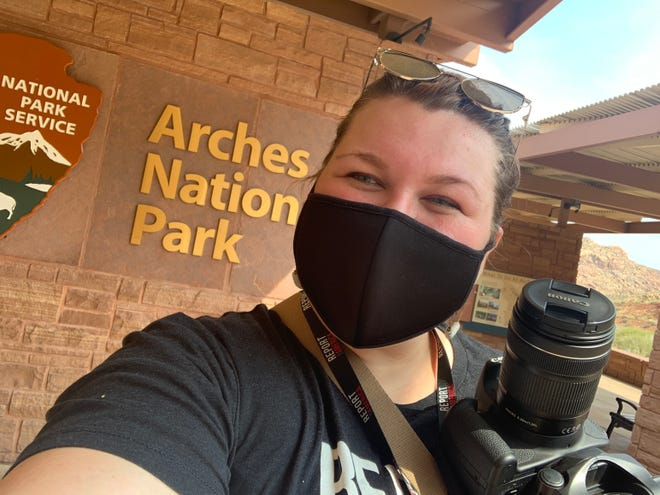 "The Spectrum National Parks Reporter K. Sophie Will on her ""Mighty Five in a Weekend"" trip at Arches National Park on September 18, 2020."