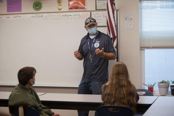 Ben Klepper, CTE Teacher at Water Canyon High School, instructs his students Wednesday, Oct. 7, 2020.
